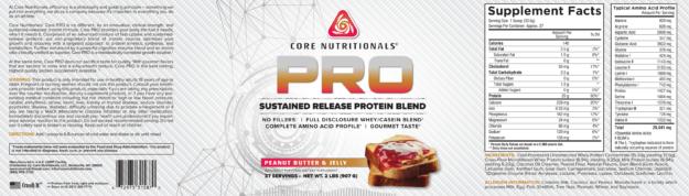 Core PRO Peanut Butter & Jelly Label