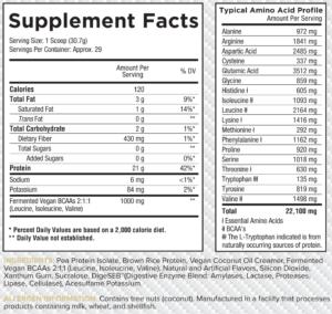 Core Vegan Nutrition Facts