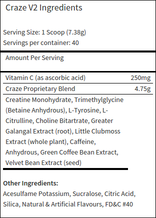 Craze V2 Ingredients