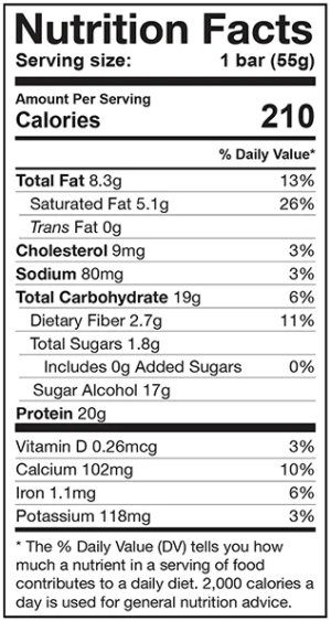 Dedicated Nutrition Crisp Bar Nutrition Facts