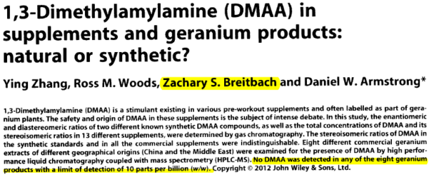 DMAA FOUND in Geranium - The doctored Zhang Study