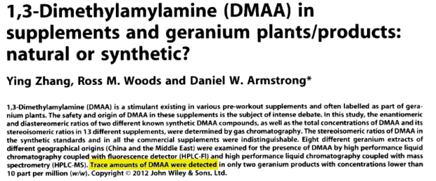 DMAA FOUND in Geranium - Unpublished Zhang Study