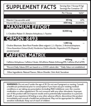 DVST8 Crimson Ingredients