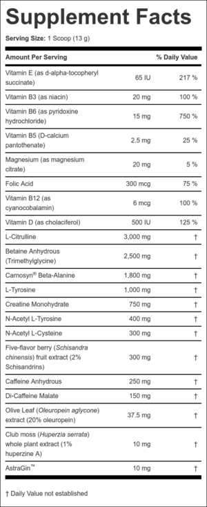 Elemetx Payload ATP Ingredients