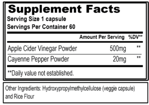 EVL Apple Cider Vinegar Capsules Ingredients