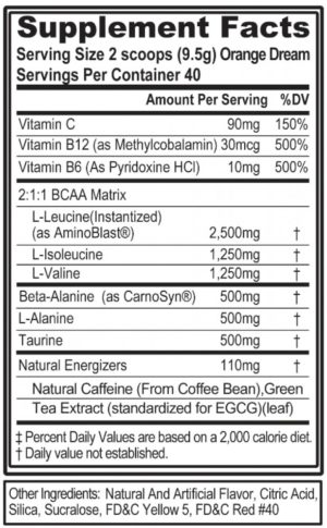 EVL BCAA Energy Ingredients