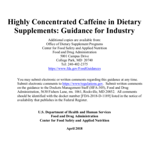 FDA Concentrated Caffeine