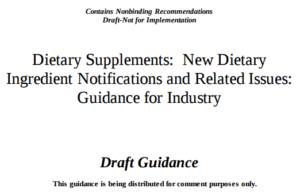 FDA NDI Draft Guidance 2016