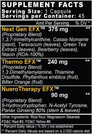 Formutech Lean-EFX Ingredients