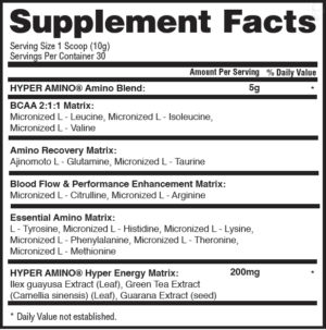 Gaspari Hyper Amino Ingredients