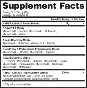 Gaspari Hyper Amino Ingredients