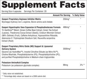 Gaspari PlasmaJet Ingredients
