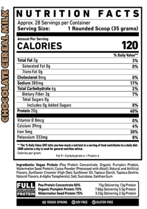 Ghost Vegan Protein Chocolate Cereal Milk Nutrition Facts