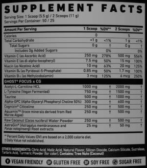 Ghost Focus Stim-Free Ingredients