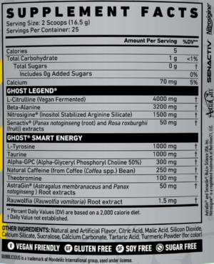 Ghost Legend Lightning Lemonade Ingredients