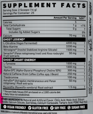 Ghost Legend Bubblicious Strawberry Splash Ingredients