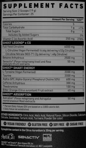 Ghost Legend Christian Guzman V4 Ingredients