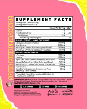 Ghost Legend Sour Pink Lemonade Maxx Chewning Ingredients