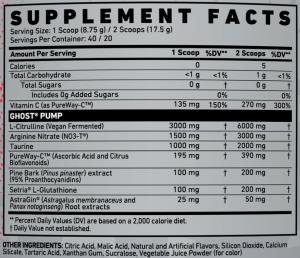 Ghost Pump V2 Ingredients