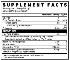 Ghost Size Ingredients
