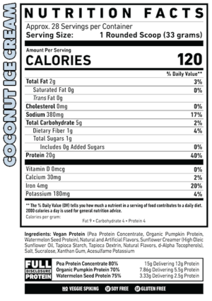 Ghost Vegan Coconut Ice Cream Ingredients