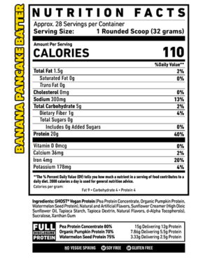 Ghost Vegan Protein Banana Pancake Batter Nutrition Facts