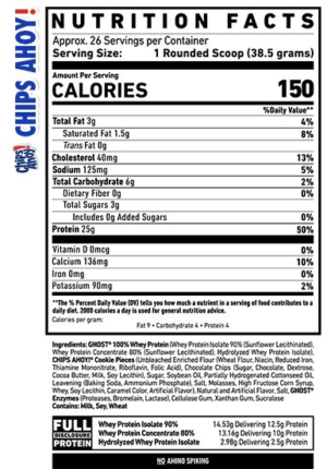 Ghost Whey Chips Ahoy Ingredients