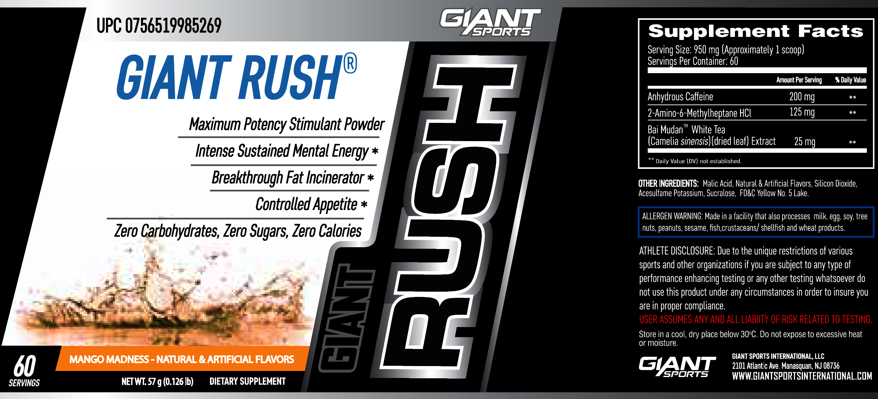 Dmaa Pre Workout >> Giant RUSH: Straight Stim Pre Workout by Giant Sports