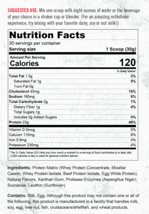 Granite Protein Supplement Facts