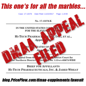 Hi-Tech DMAA FDA Lawsuit Appeal