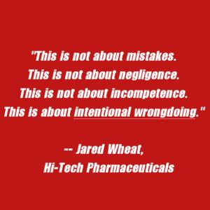 Hi-Tech Pharmaceuticals DMAA Press Release Jared Wheat