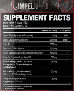 Impel Nutrition Vain Ingredients
