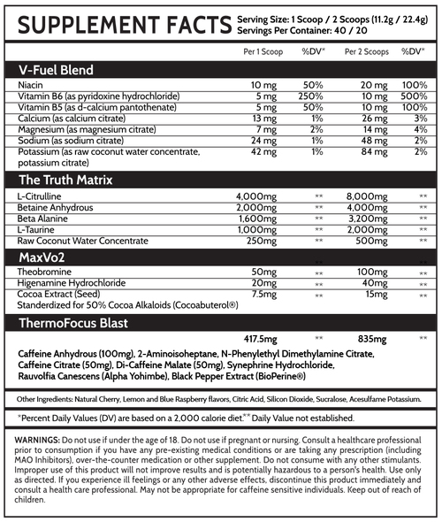 Inspired Nutraceuticals DVST8 White Cut Ingredients