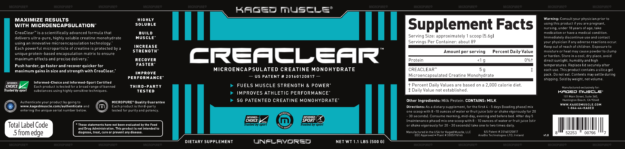 Kaged Muscle CreaClear Label