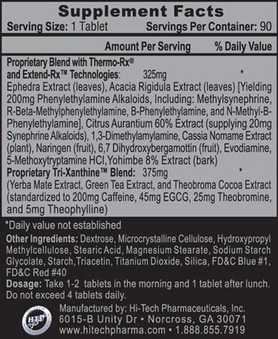 Lipodrene Hardcore Ingredients