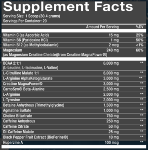 MaxQ Nutrition Pre Workout Ingredients