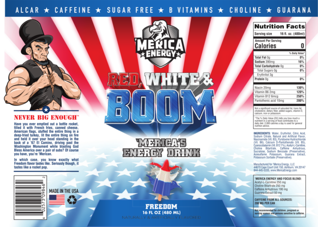Merica Energy Drink Label