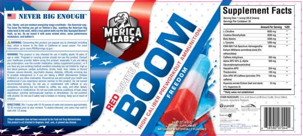 Merica Labz Red White Boom Label
