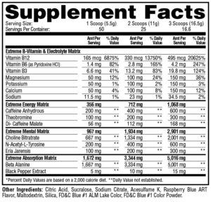 Metabolic Nutrition E.S.P. Extreme Ingredients