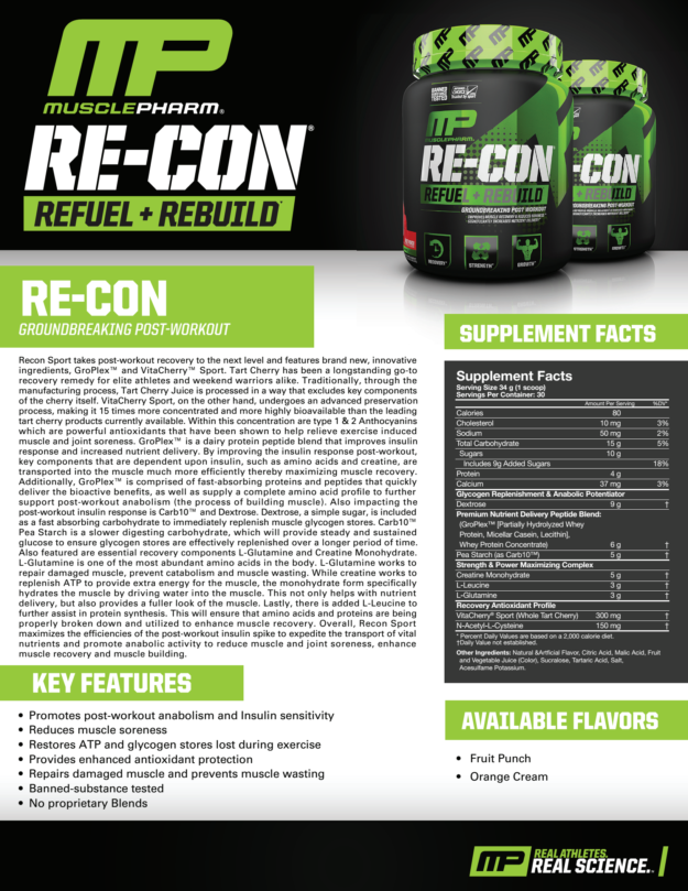 MusclePharm Recon Sales Sheet