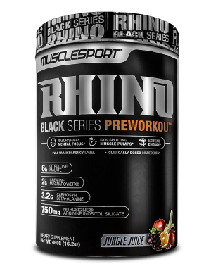 Rhino Black is the newest high energy, pump-centric workout from MuscleSport specifically tailored to give razor focus and skin-splitting pumps!