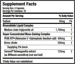 MuscleTech Mass-Tech X5 Ingredients