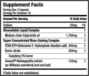 MuscleTech Mass-Tech X5 Ingredients