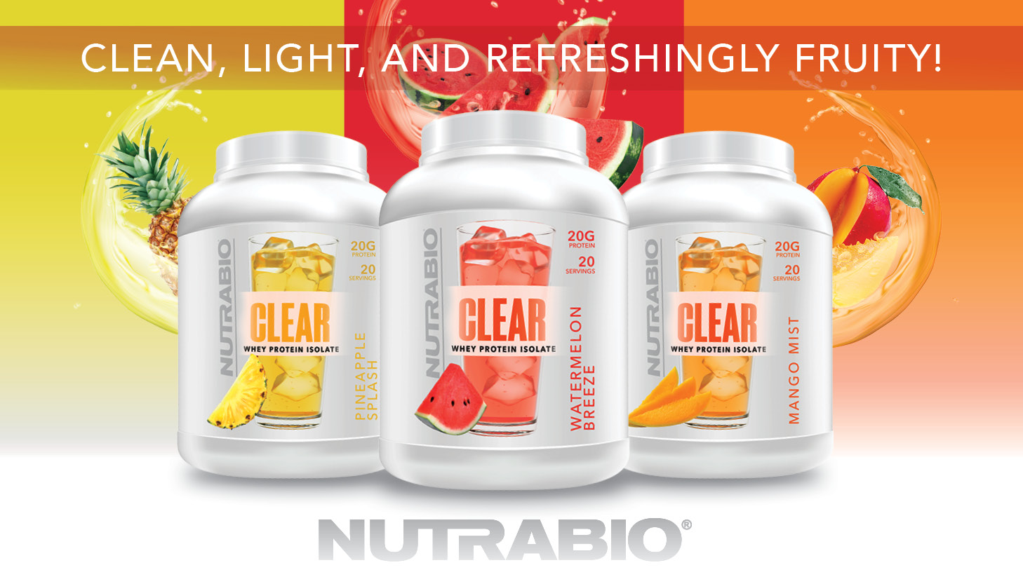 NutraBio Clear Whey Protein Isolate - Light, Refreshing, and Fruity!