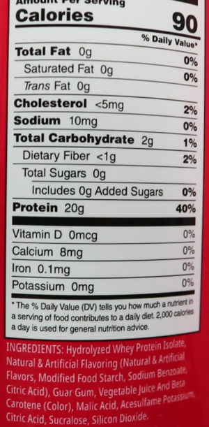 Myprotein Strawberry Clear Whey Isolate Nutrition Facts