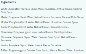 Myprotein FlavDrops Ingredients