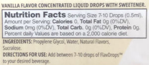 Myprotein FlavDrops Nutrition Facts