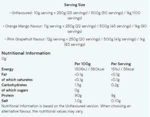 Myprotein Marine Collagen Nutrition Facts
