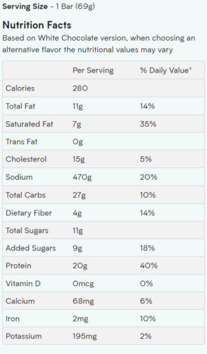 Myprotein Protein Brownies Nutrition Facts