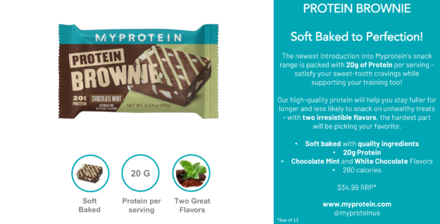 Myprotein Protein Brownie Sales Sheet